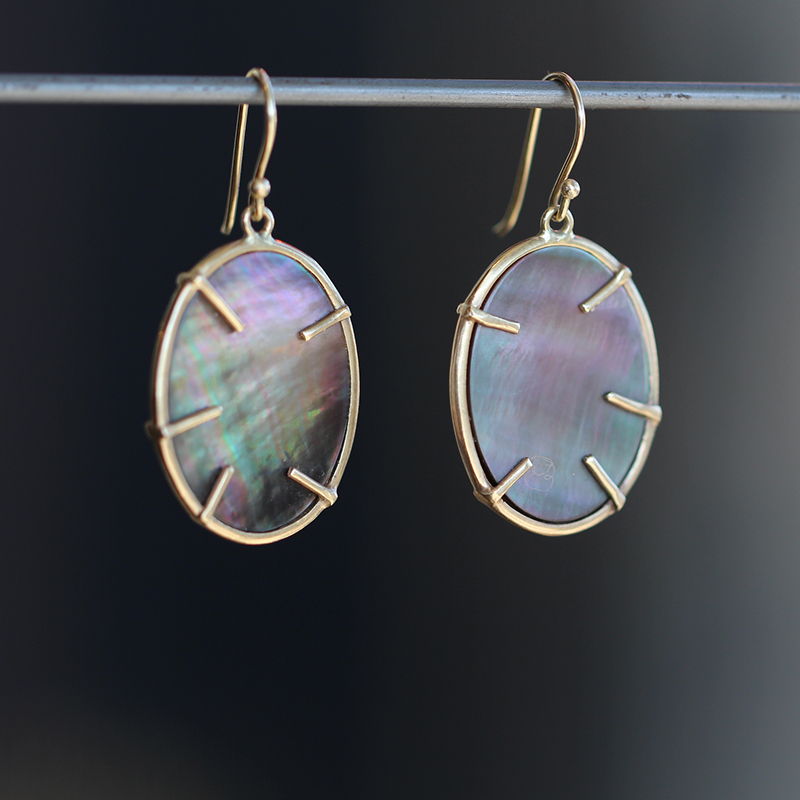 Lunaria Gold Black Mother of Pearl Earrings
