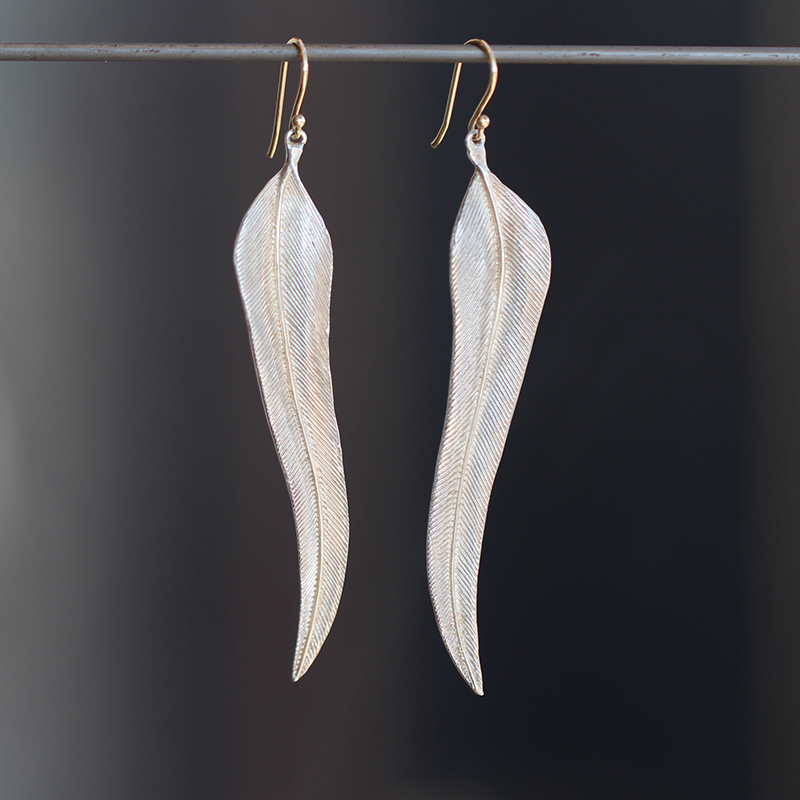 Silver Single Large Bird of Paradise Feather Earrings