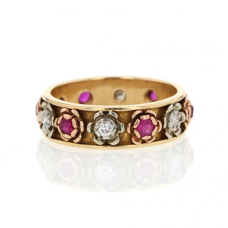 Flower Ruby and Diamond Gold Ring