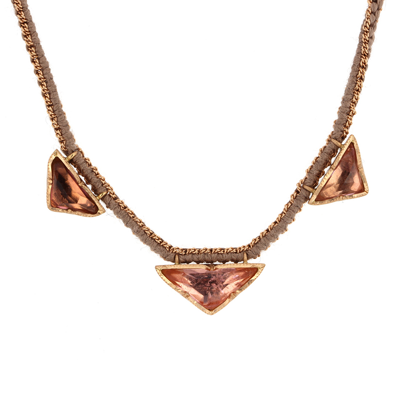 Triple Pyramid Rose Pink Tourmaline Silk Gold Necklace