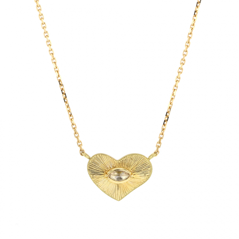 Heart Engraved 18k Gold Diamond Necklace