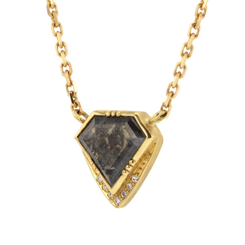 Diamond Slice Triangle Diamond Halo Necklace