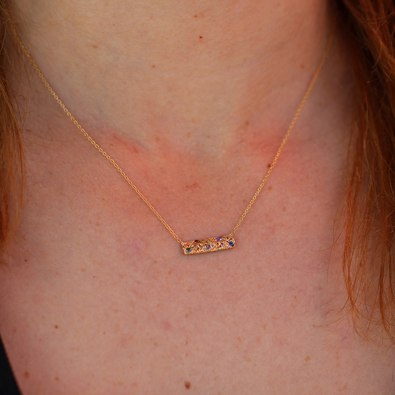 Gold Bar Multi Sapphire Necklace