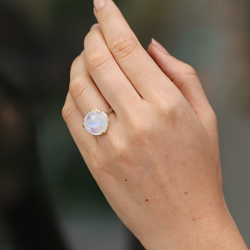 Rainbow Moonstone Silver and Gold Ring