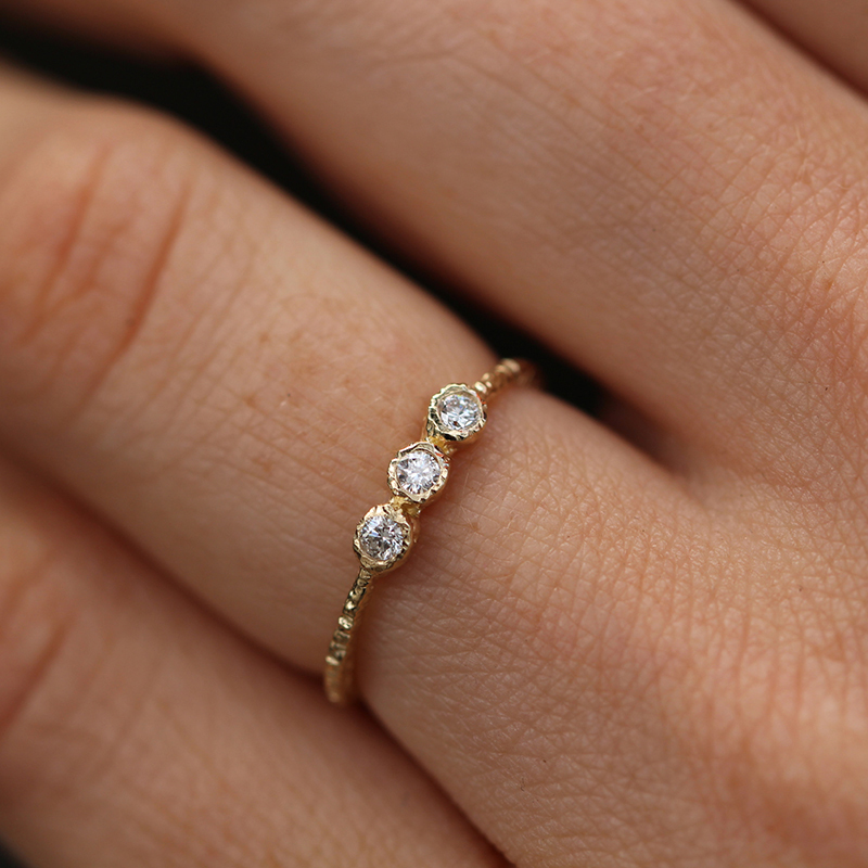 Etched Triple 2mm Diamond Gold Ring