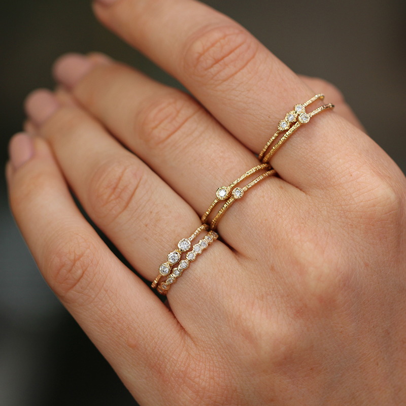 Etched Gold Band with Diamond
