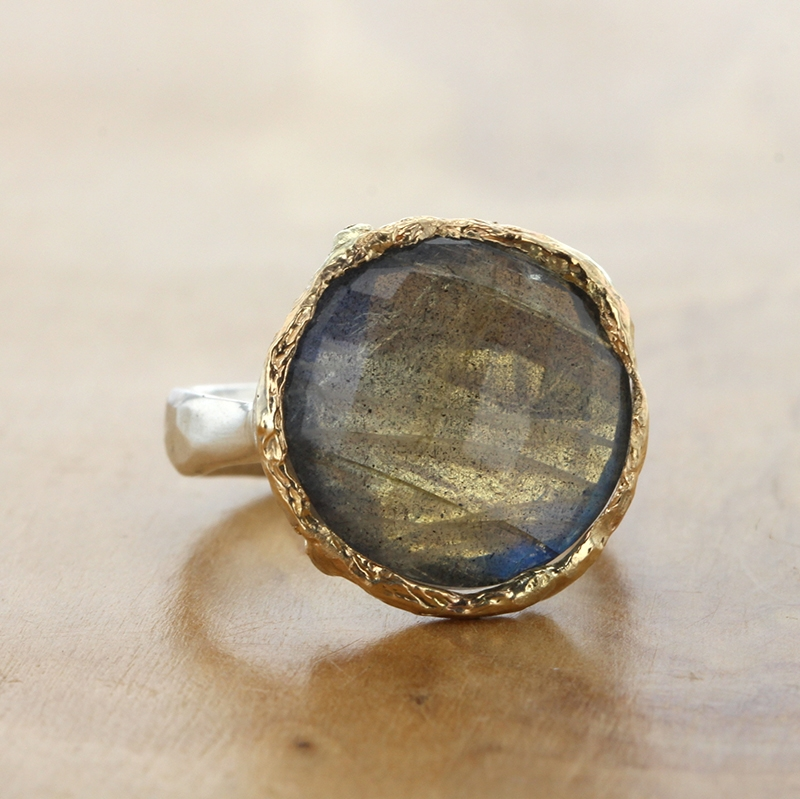 Round Labradorite Silver and Gold Ring