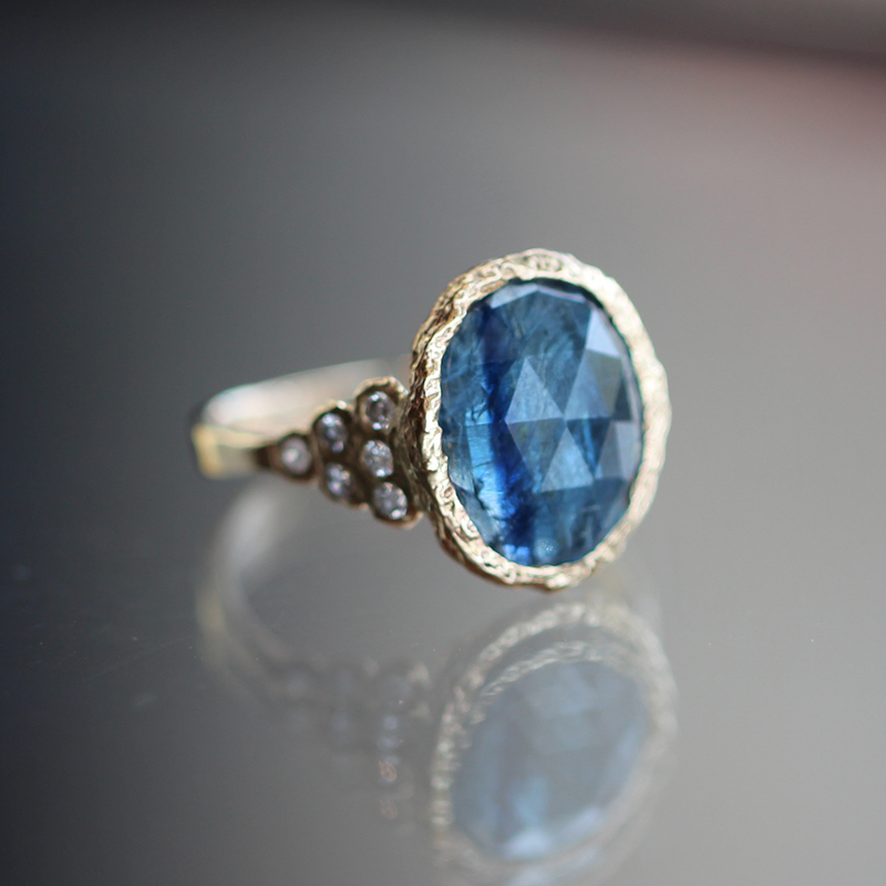Kyanite Diamond Lace Gold Ring