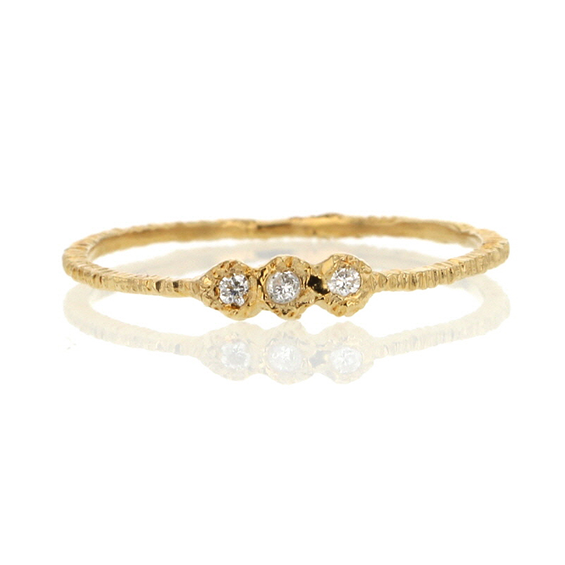 Triple Etched Gold Band with Diamonds