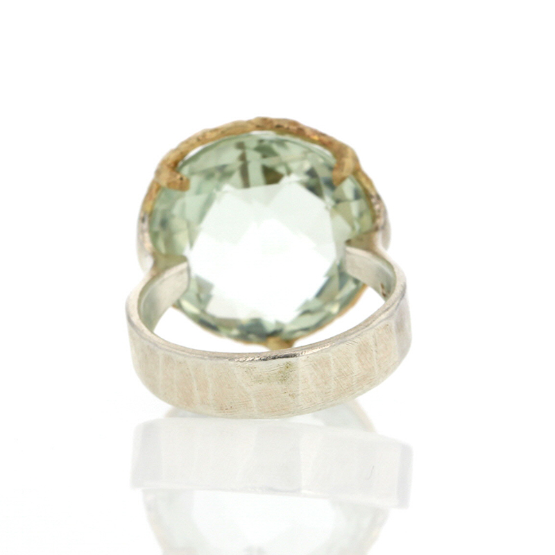 Green Amethyst Round Silver and Gold Ring