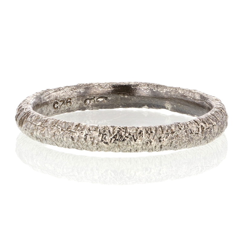 Etched Oxidized Silver Band