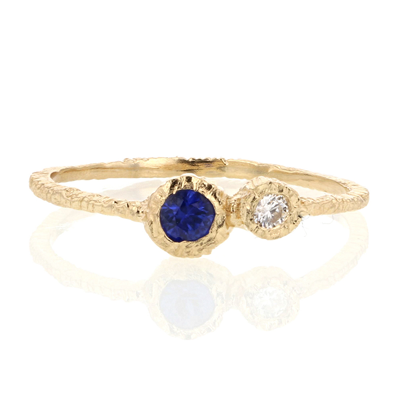 Sapphire and Diamond Gold Etched Ring
