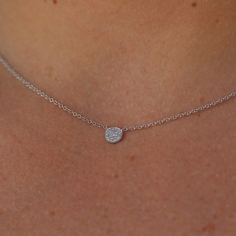 White Gold Diamond Button Necklace