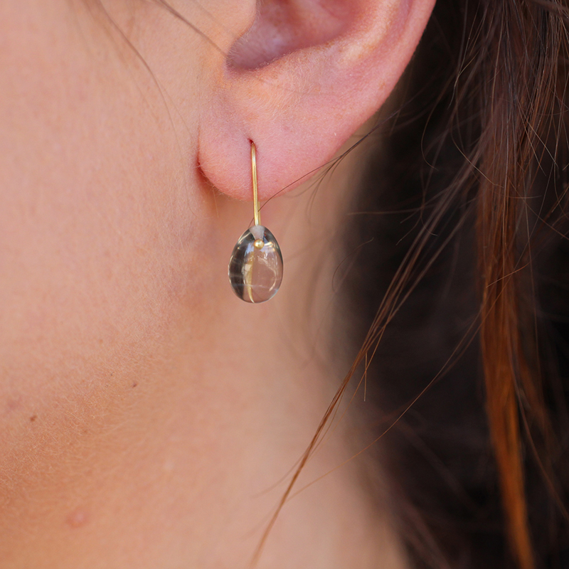 Green Amethyst Egg Earrings