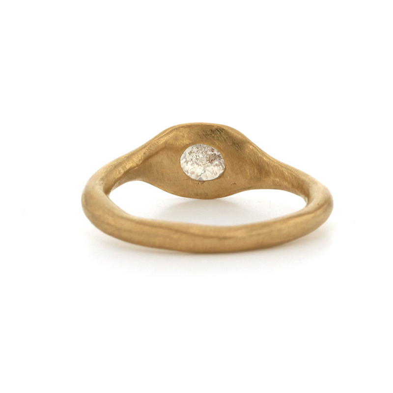 Milky Gray Rose Cut Diamond Gold Ring
