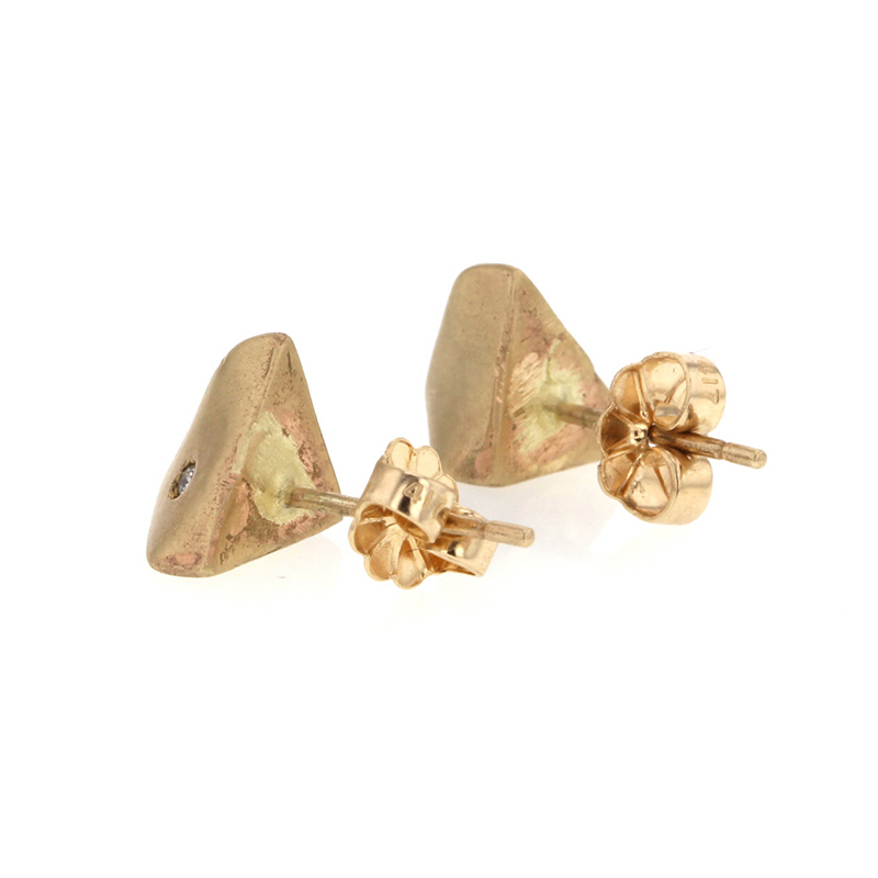 Pinched Gold Studs