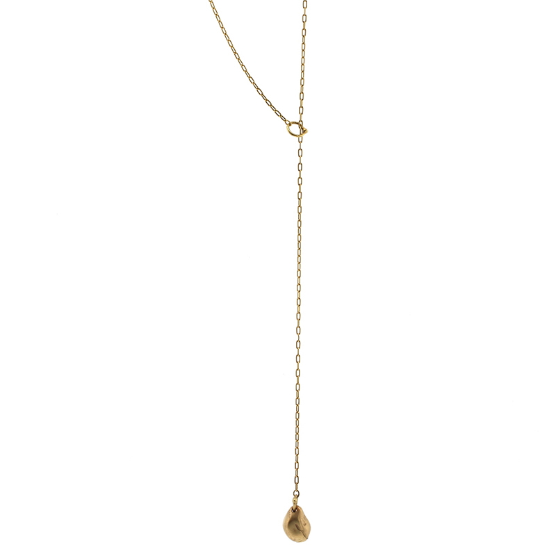 Teardrop 18k Gold Lariat Necklace