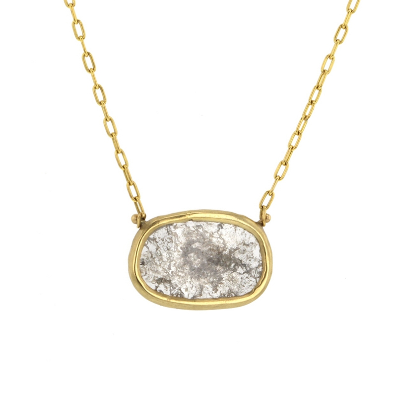 Gold Diamond Slice Necklace