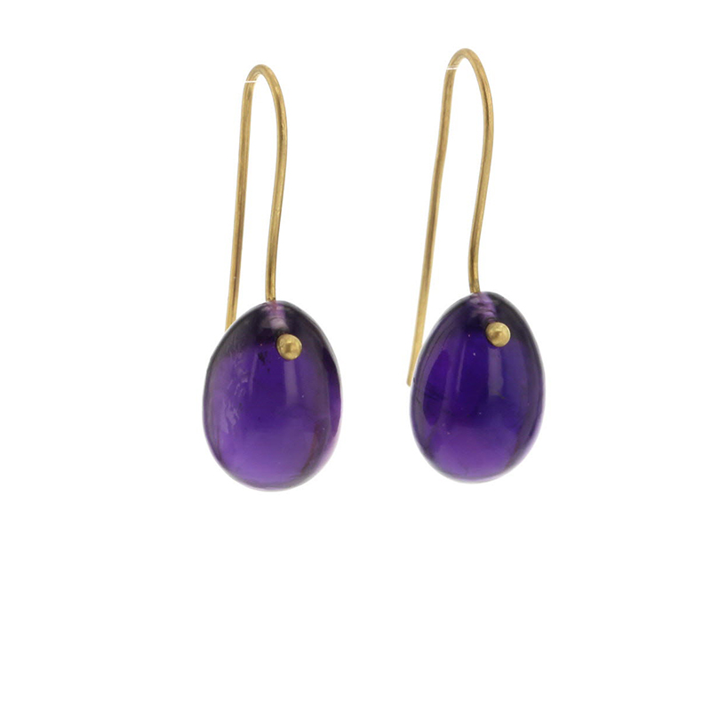 Purple Amethyst Egg Earrings