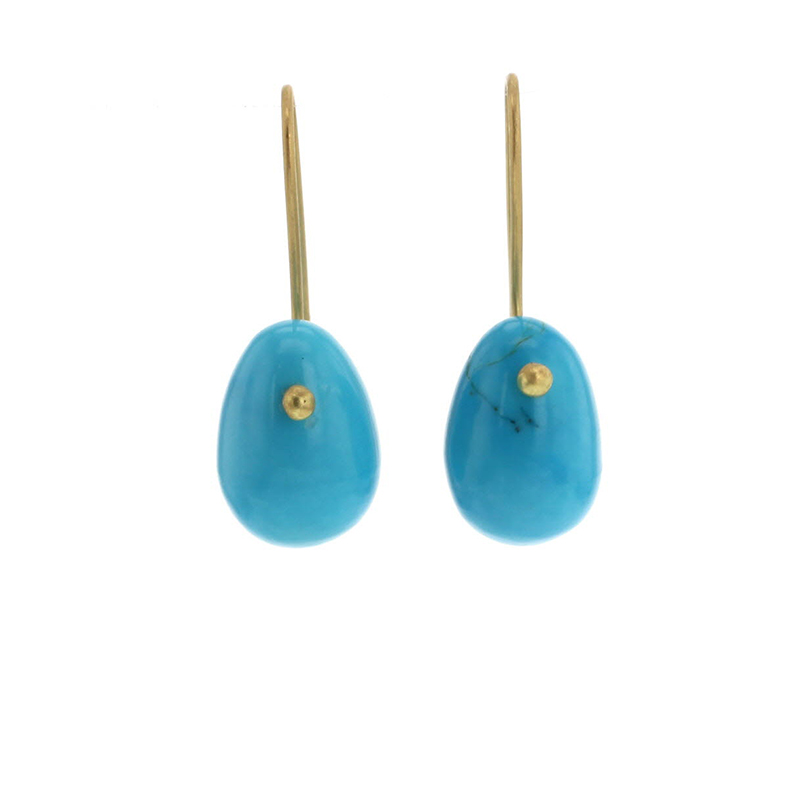Turquoise 18k Egg Earrings
