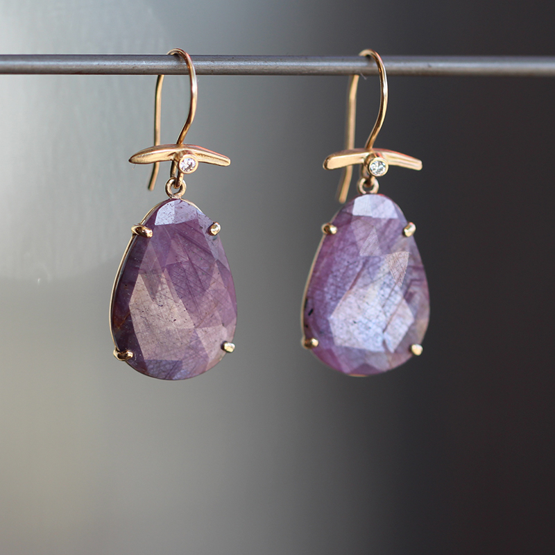 Purple Sapphire Gold Earrings