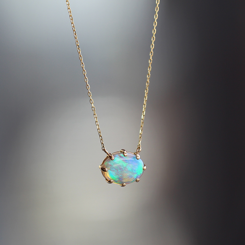 Small Australian Opal Prong Necklace