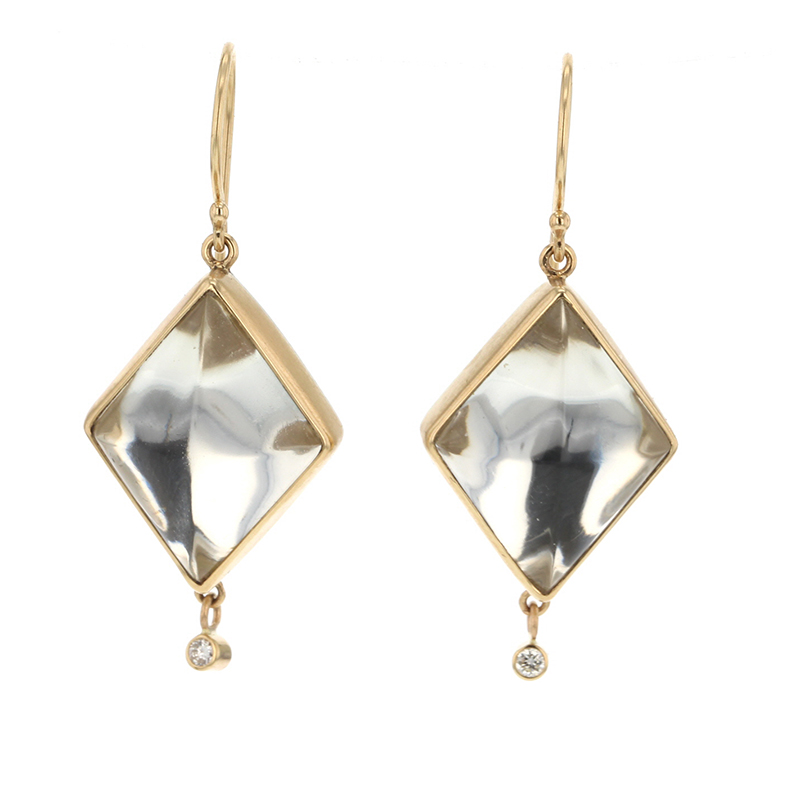 Rock Crystal Diamond Dangle Earrings