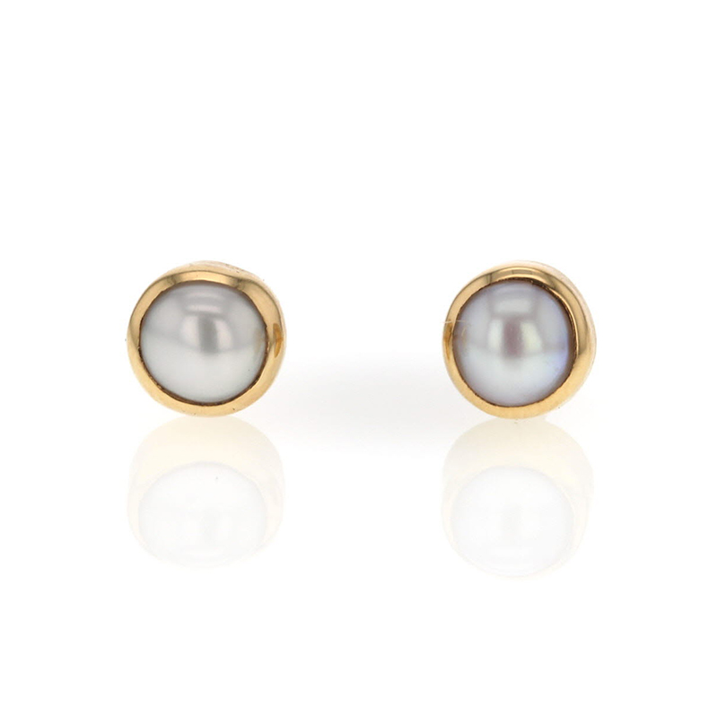 Tiny Cultured White Pearl Stud Earrings