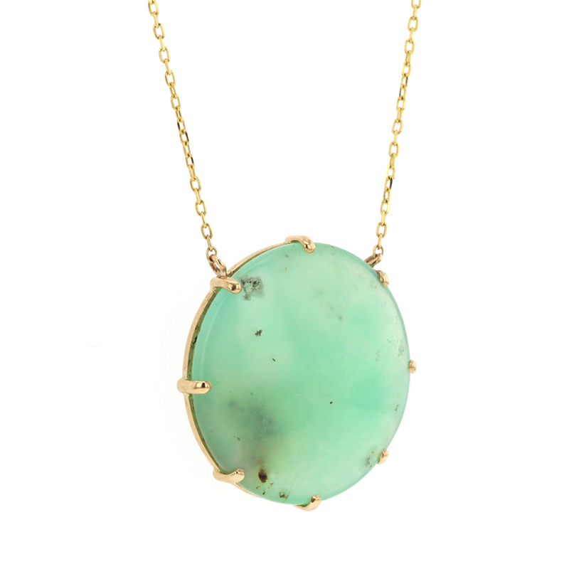 Round Chrysoprase Gold Necklace