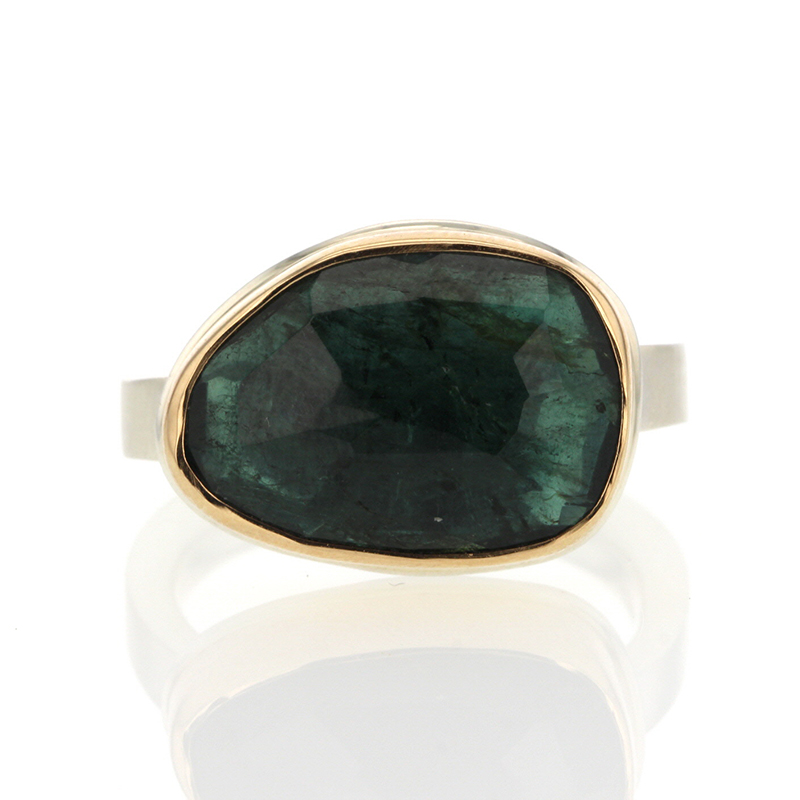 Green Tourmaline Asymmetrical Silver and Gold Ring