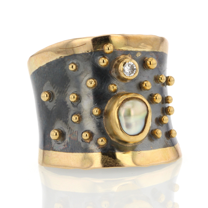 Wide Band Keishi Pearl and Diamond Ring