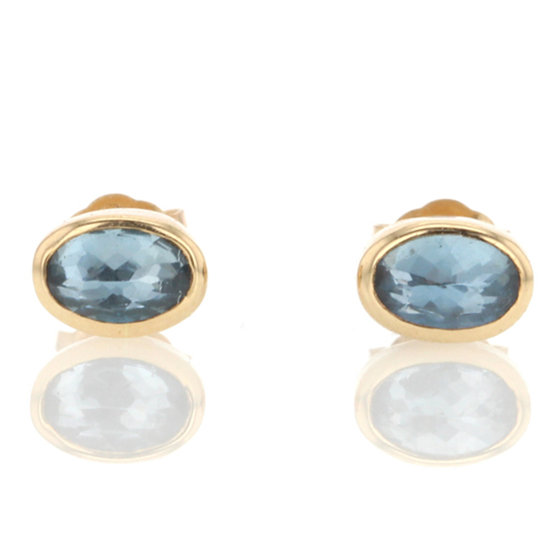 Oval Inverted Faceted Aquamarine Stud Earrings
