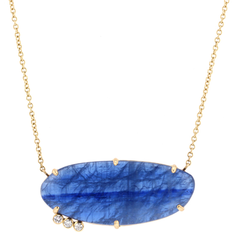 Kyanite Gold Triple Diamond Necklace