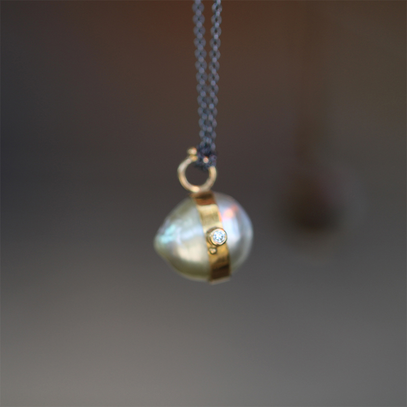 South Sea Pearl Mixed Metal Long Necklace