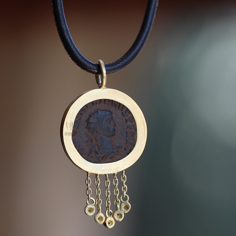 Constantine Ancient Roman Coin Leather Necklace