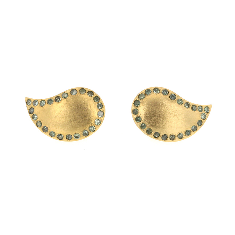 Paisley Gold Green Diamond Post Earrings