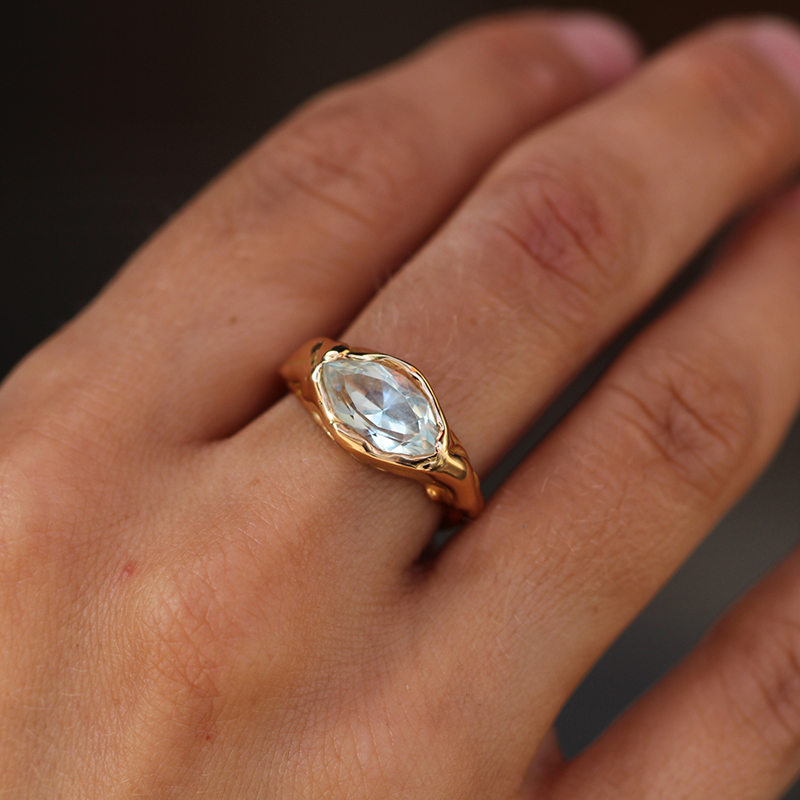 Aquamarine Navette Ring