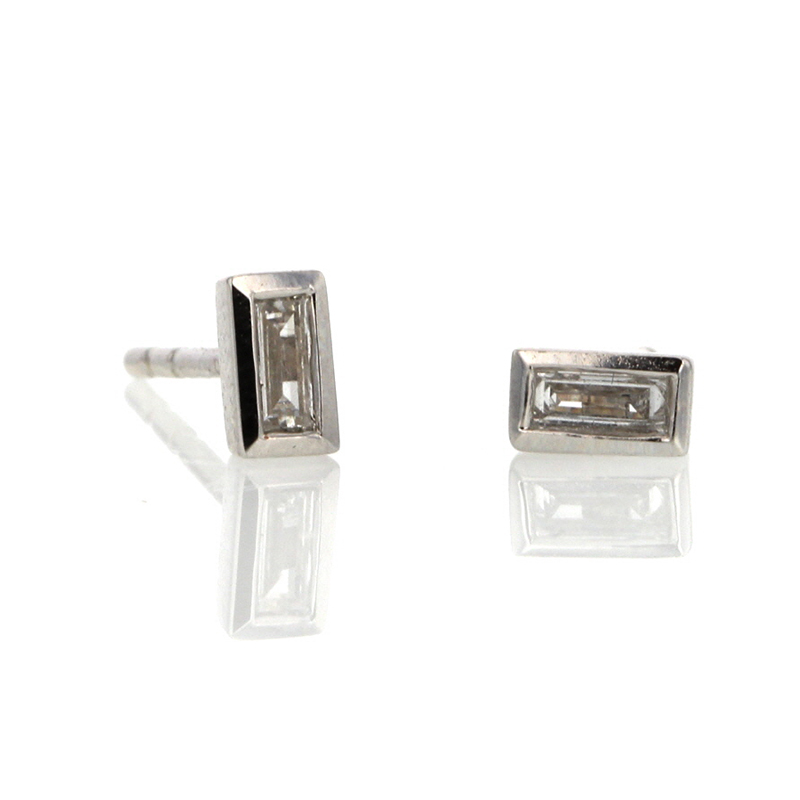 White Gold Diamond Baguette Stud Earrings