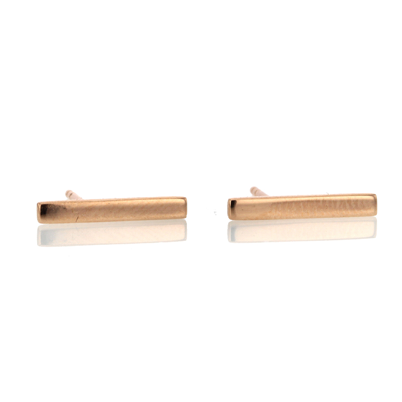 Rose Gold Long Bar Stud Earrings