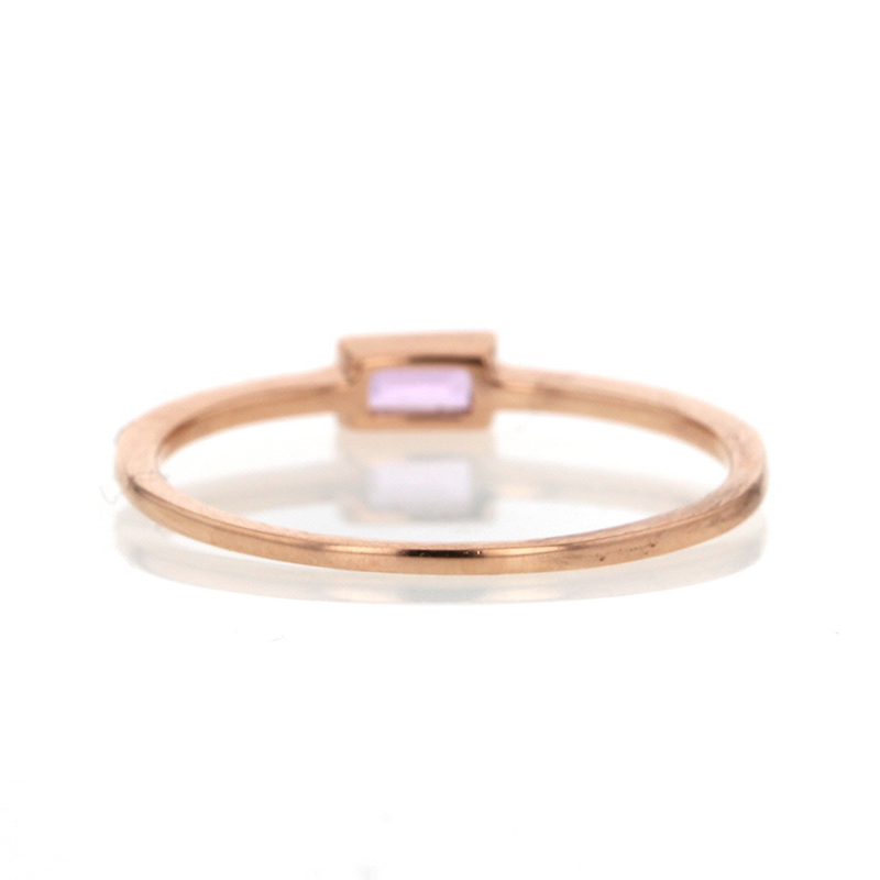 Rose Gold Pink Sapphire Baguette Ring