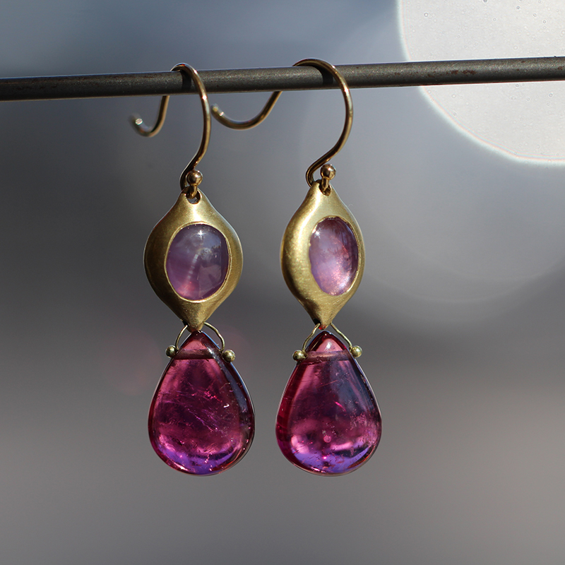 Rubelite and Sapphire Earrings