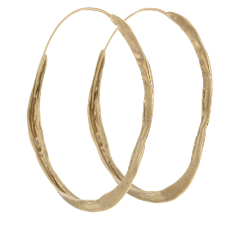 Medium 10k Gold Crinkle Hoops