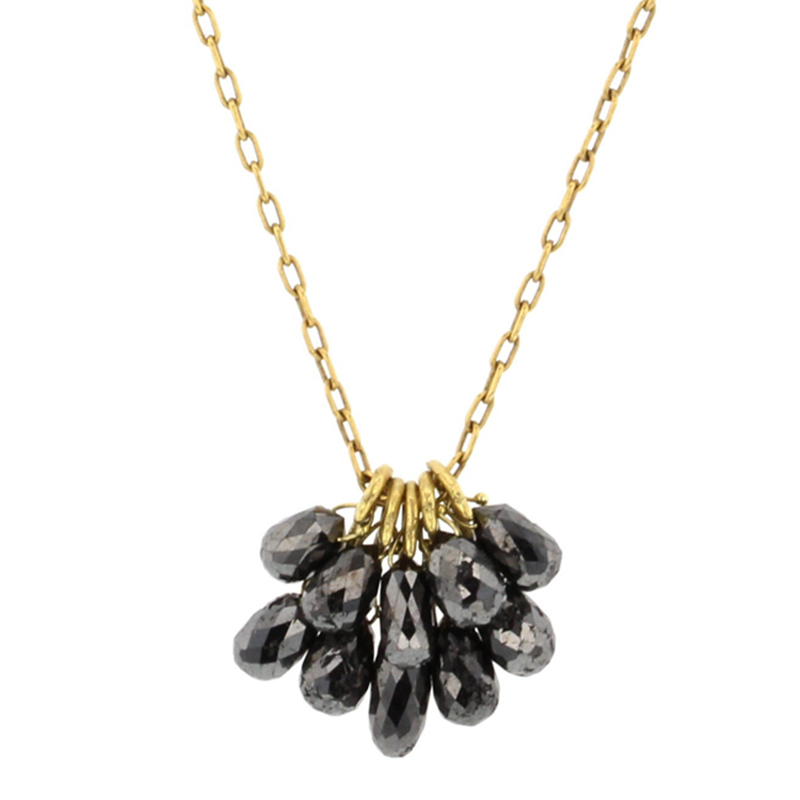 Black Diamond Gold New Cluster Necklace