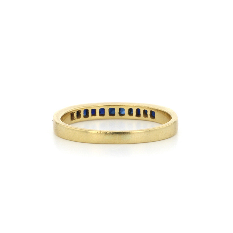 Sapphire 18k Gold Channel Set Half Band