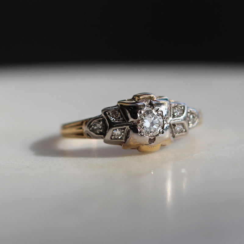 Vintage Gold Ring with Diamonds
