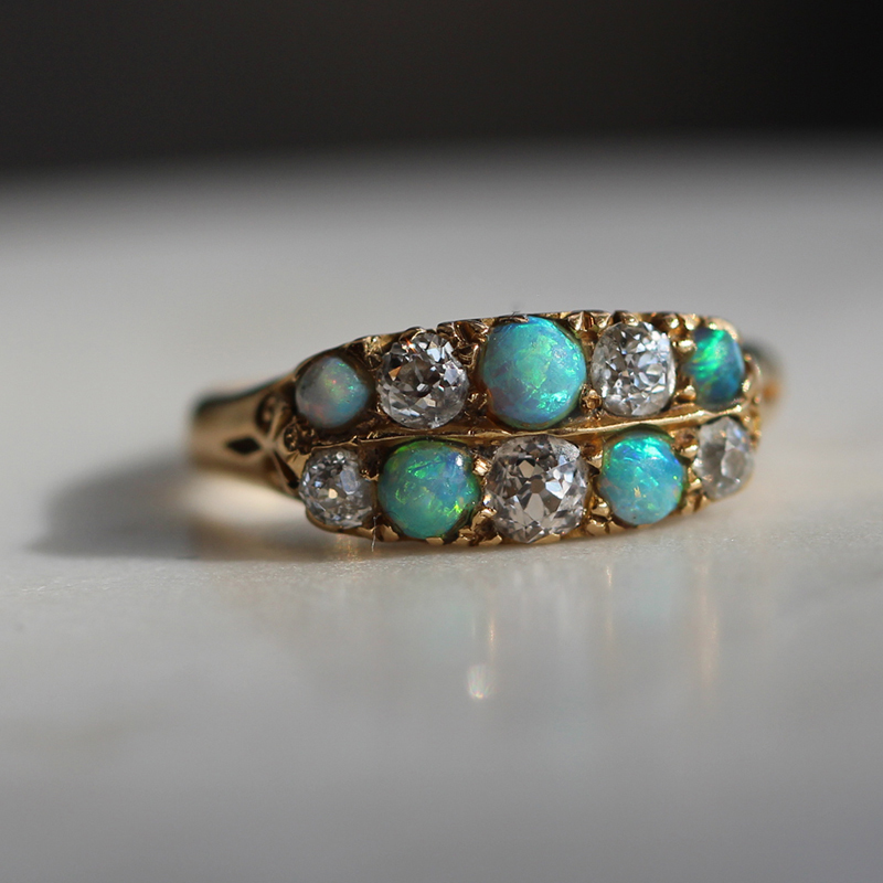 Antique Opal and Diamond Gold Ring