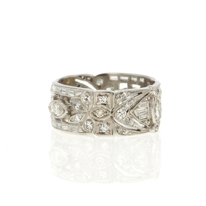 Unique Platinum Diamond Wide Band