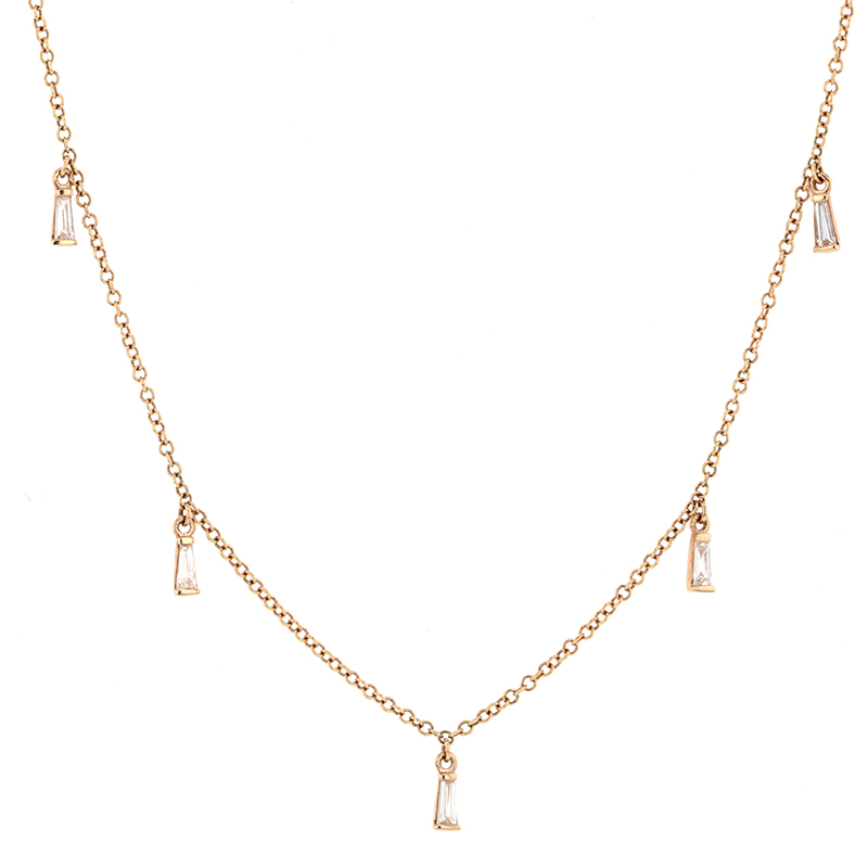 Diamond Baguette 14k Rose Gold Necklace