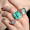 Large Square Hubei Turquoise Ring