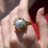 Platinum Pearl 18k Gold Ring with Diamonds